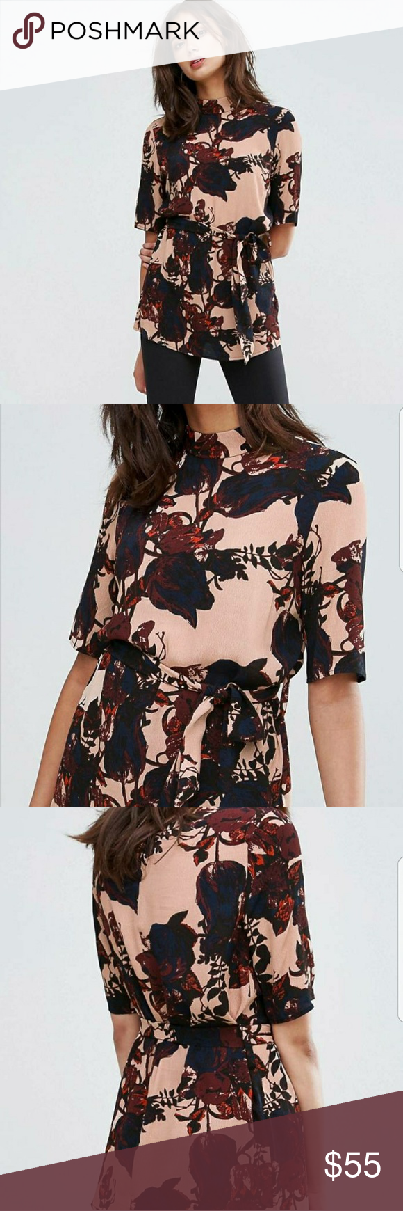 y a s floral print belted blouse us size lt tall lady