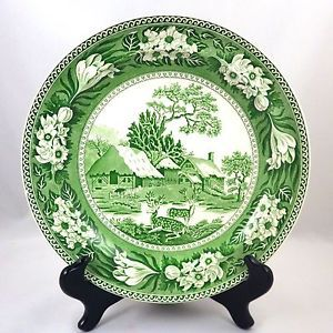 1930s (1931) Wedgwood Green Transferware Fallow Deer Dinner Plate