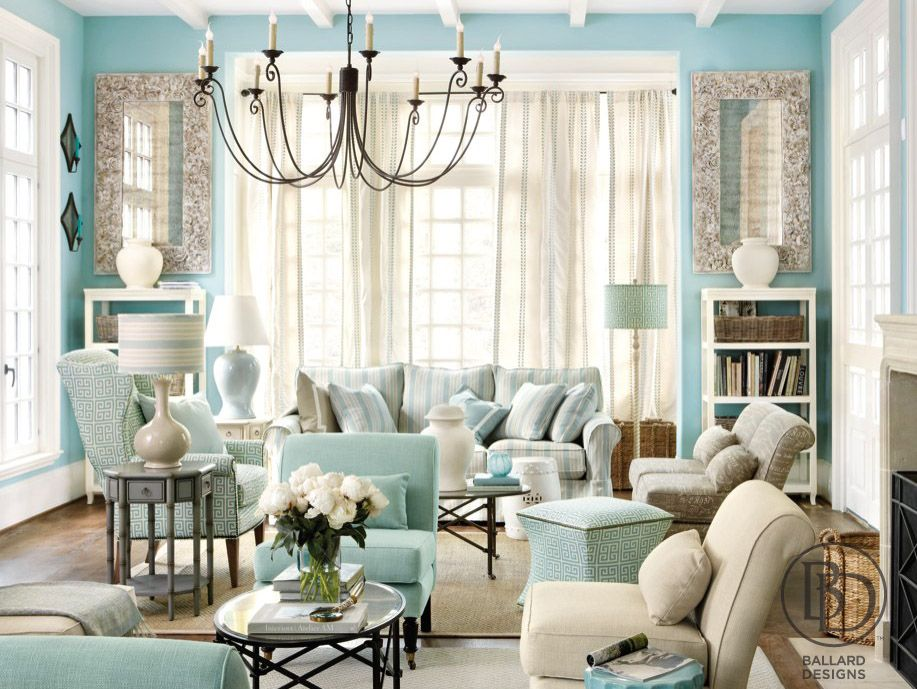 exciting living room blue accents   Bright blue living room with cream accents   Inredning ...
