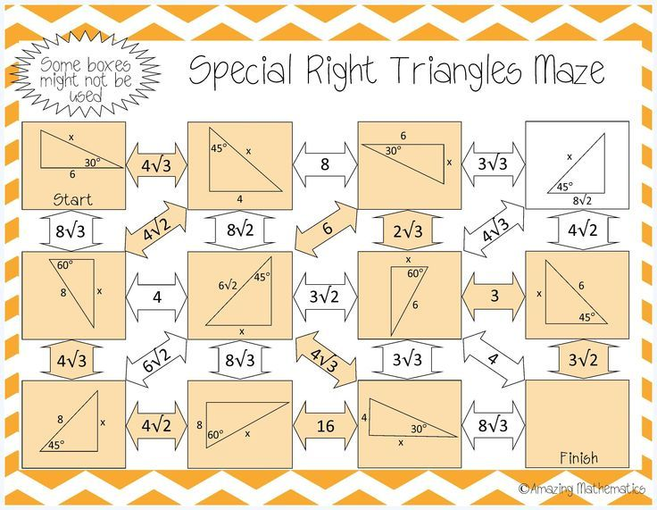 Special Right Triangles Maze Right Triangles