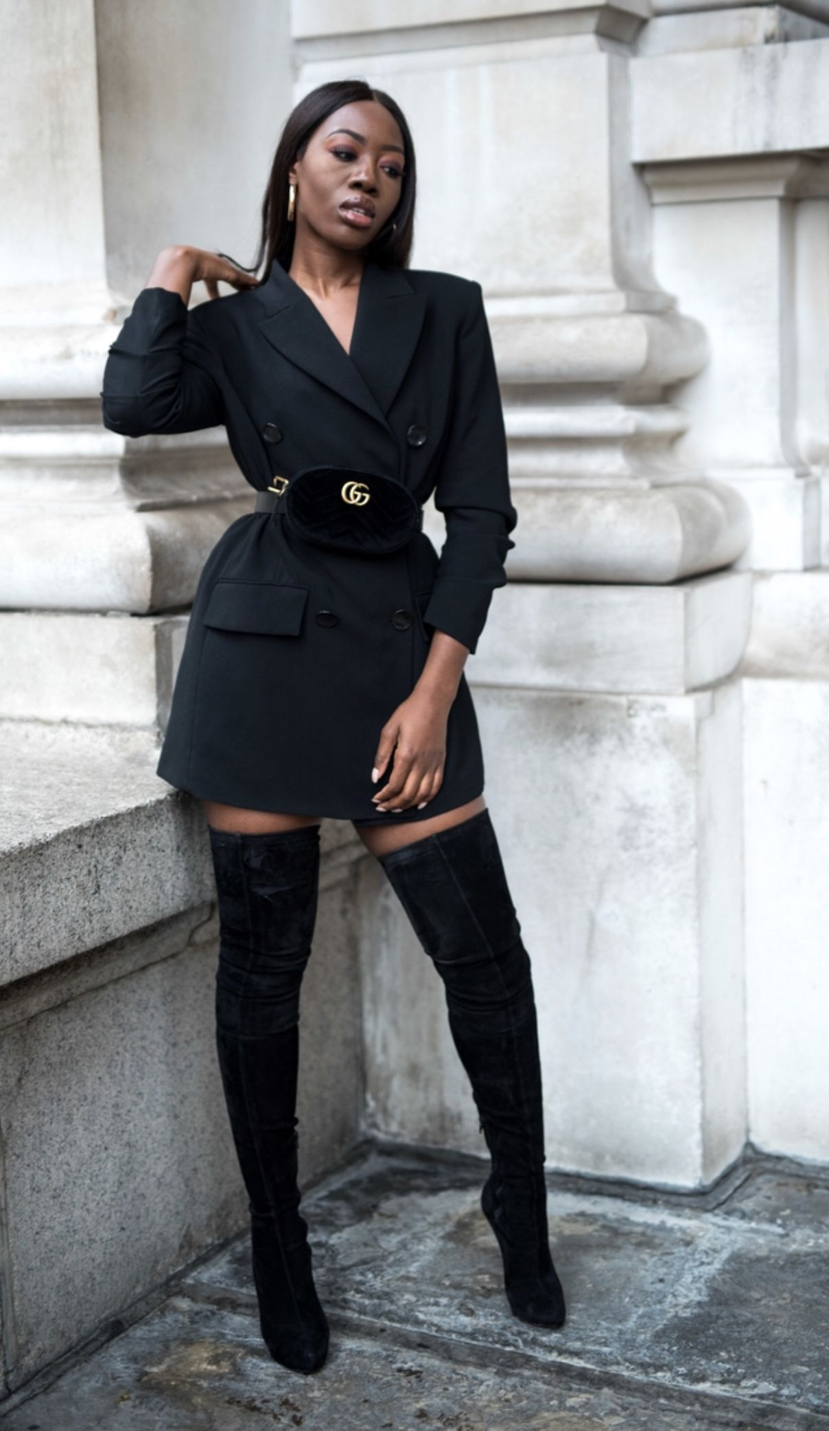 bffa7bfda Gucci Belt Bag with High Boots and Long Blazer styled by Melissa Holdbrook-  Akposoe (Melissa's Wardrobe blog)