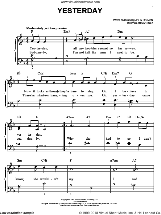 Beatles - Yesterday, (beginner) sheet music for piano solo [PDF]