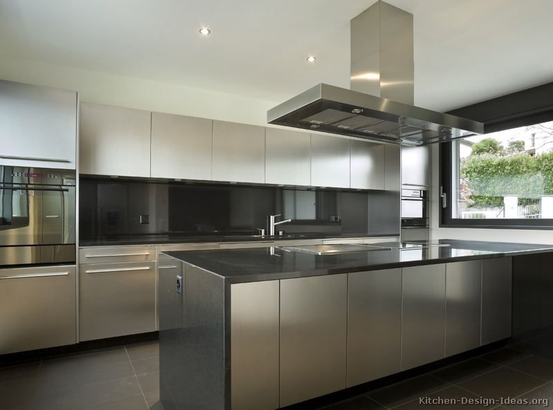 Stainless Steel Kitchen Cabinets With Black Granite Countertops Modern Grey Kitchen Modern Kitchen Cabinet Design