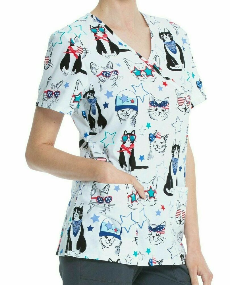 MUMEOMU Womens Workwear V-Neck Scrub/_Tops Tunics Uniform Top Mock-Wrap Uniform Tunic Scrub/_Tunic Uniform Womens Holiday Tops 2021 Happy Valentines Day Printed Scrub/_Top Workwear