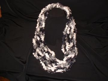scarf, crochet, necklace, black,white,gray by GalleryatKingston for $15.00