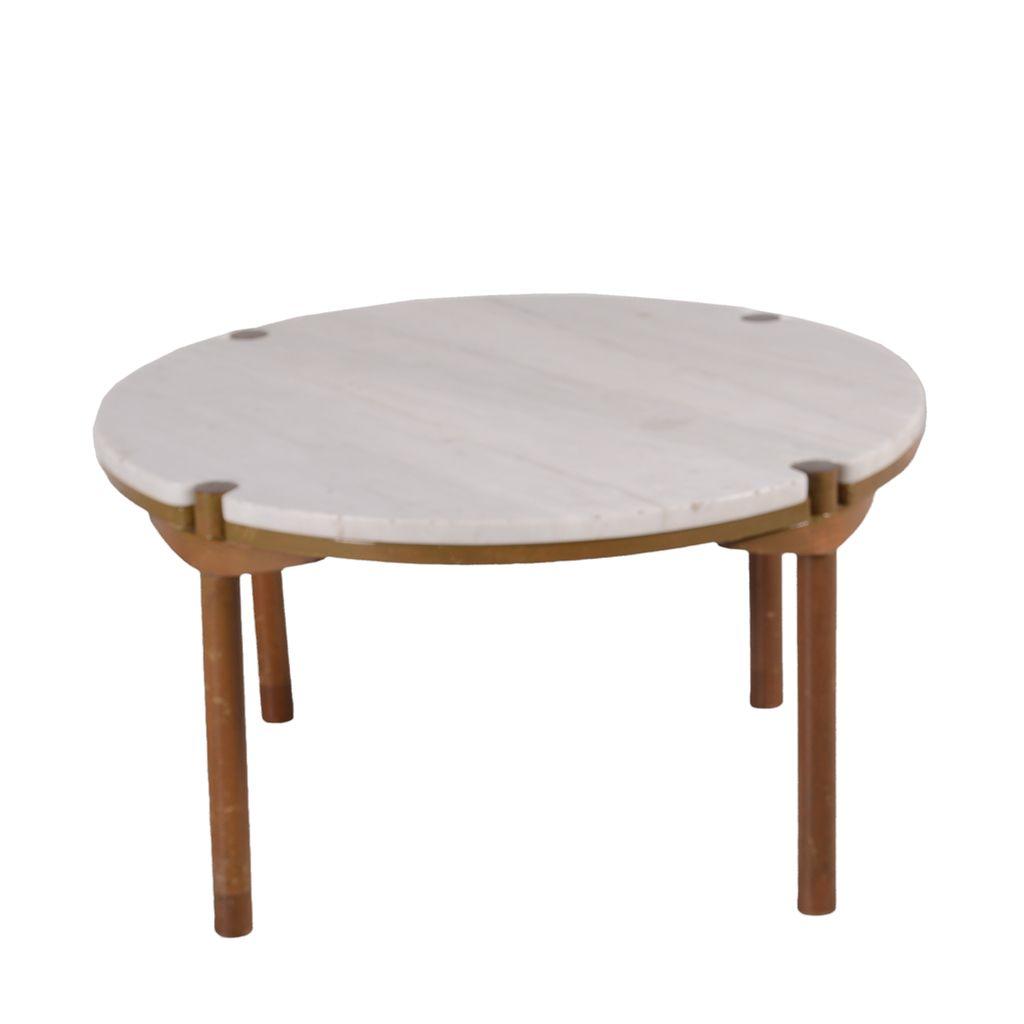 Diseño de Frank Kyle. Mesa con cubierta circular de mármol veteado ...
