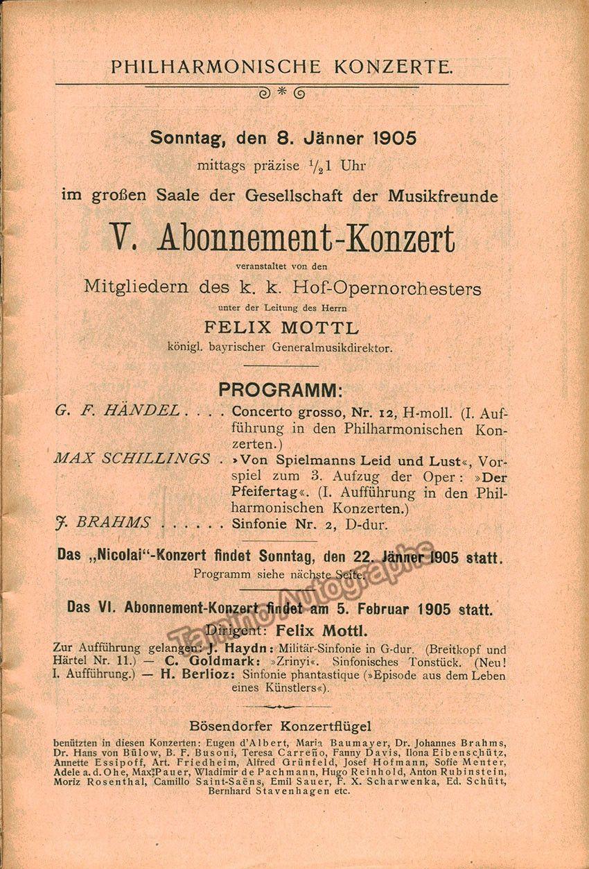 Mottl Felix  Vienna Philharmonic Orch  Concert Program