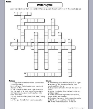 The Water Cycle Worksheet Crossword Puzzle Water Cycle Water