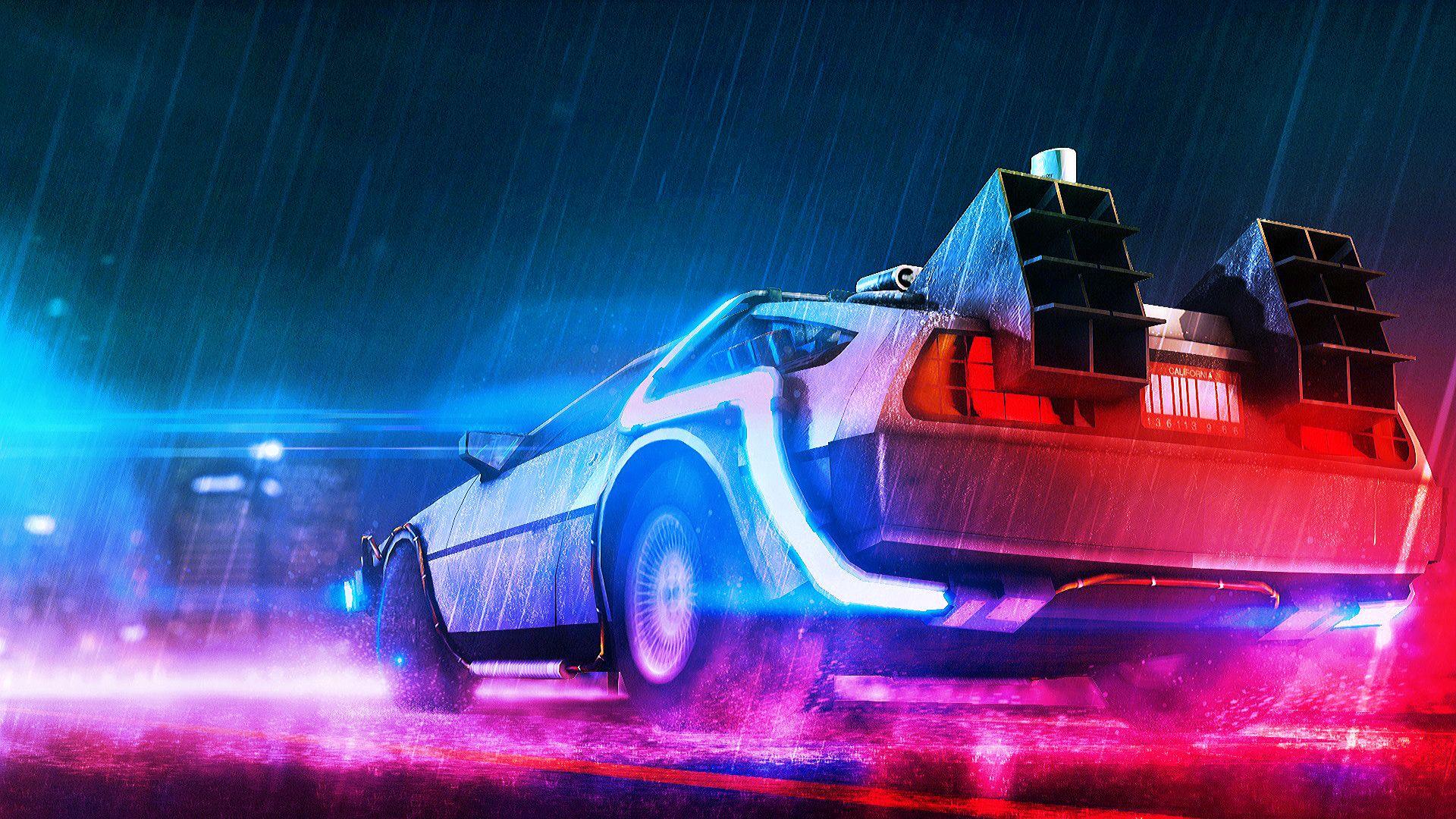 Back To The Future Neon Delorean Bttf Delorean Back To The Future