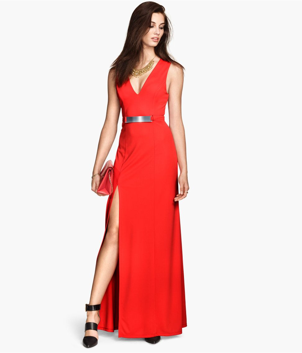 945cde7f07ea Long red maxi dress with V-neck