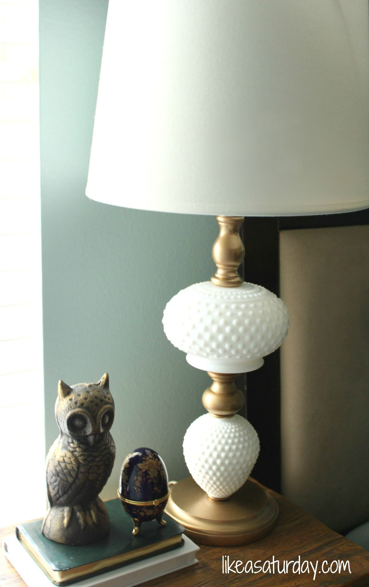 Like A Saturday Thrifted Milk Glass Lamp Revamp Milk Glass Lamp Milk Glass Collection Glass Lamp