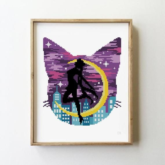 Photo of Cat silhouette counted cross stitch pattern -Cross Stitch Pattern (Digital Format – PDF)