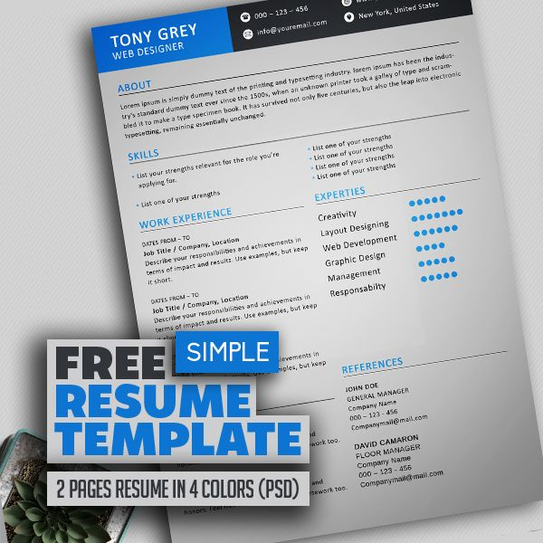 Freebie \u2013 Simple Resume Template with Cover Letter Mock Up