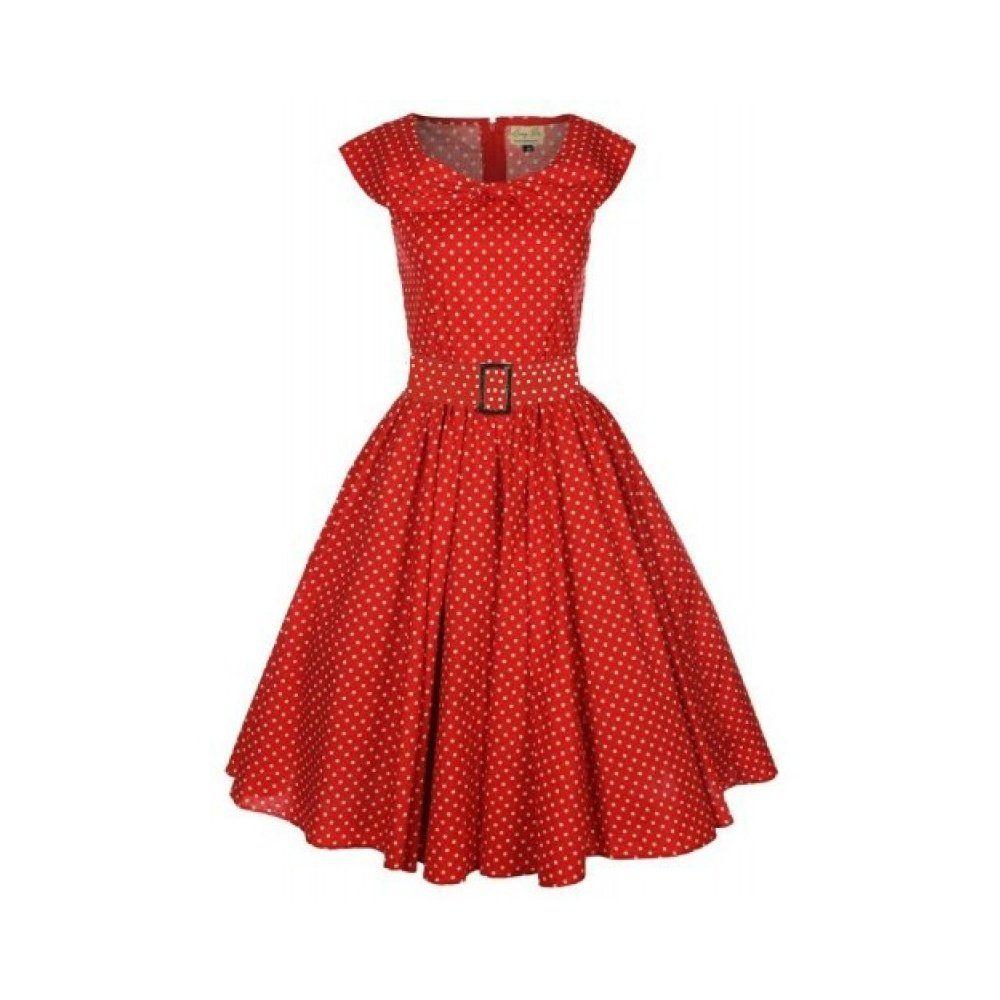 43bb3b6874e9 Lindy Bop  Hetty  Red Polka Dot Bow Shawl Collar Vintage 1950 S Rockabilly Swing  Party Dress