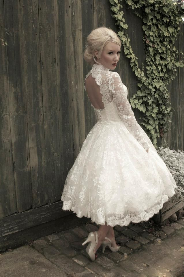 Lace Tea Length Wedding Dresses with Red
