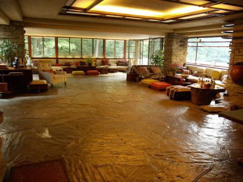 Wide-angle view of living area. Fallingwater – One Of The Most Famous Houses In The World Built Over a Waterfall | DigsDigs