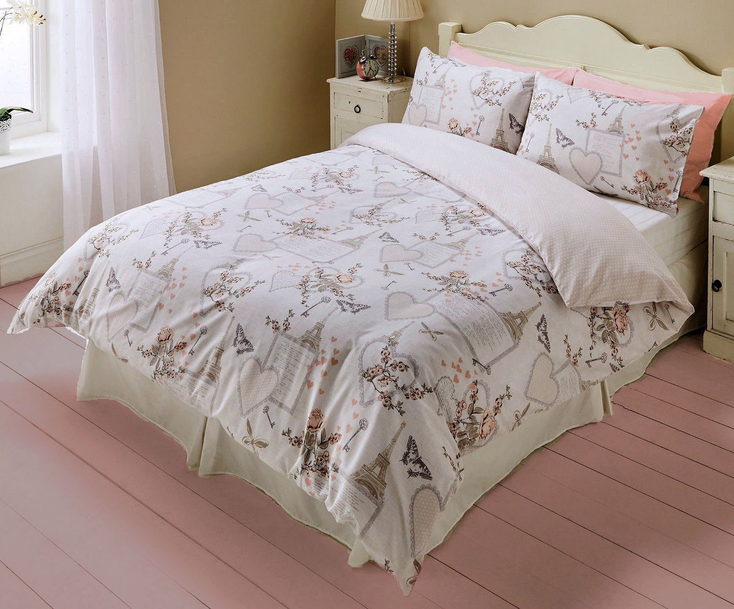 romantic hearts paris bedding twin full queen duvet cover