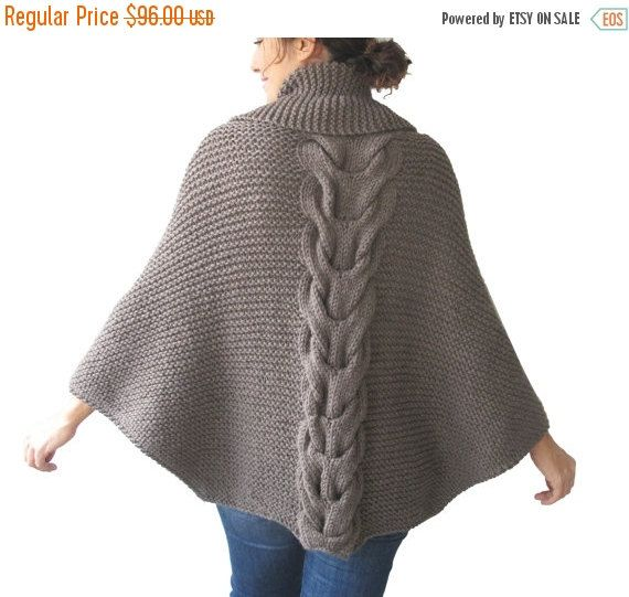 WINTER SALE 20% Plus Size Hand Knitted Brown Poncho with por afra
