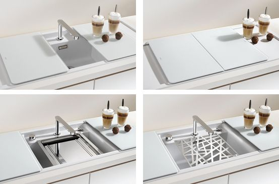 minimalist kitchen sinks with movable cutting board and retractable faucets - White Kitchen Sink Taps