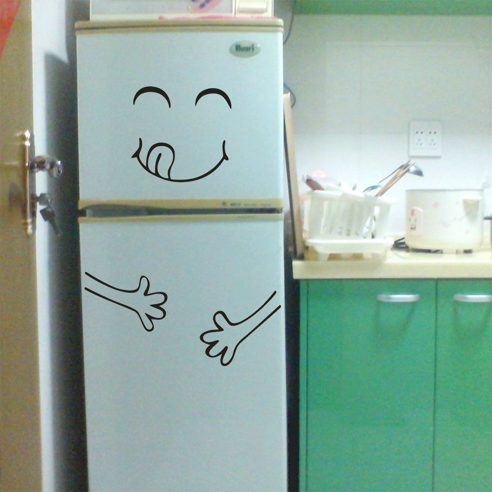Garden wall art faces  Cute Sticker Fridge Happy Delicious Face Kitchen Fridge Wall