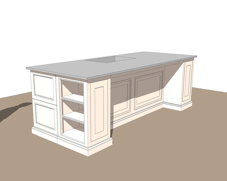 Free Interior Kitchen Island Sketchup Model_#2  Kitchen Design Adorable Kitchen Design Drawings 2018