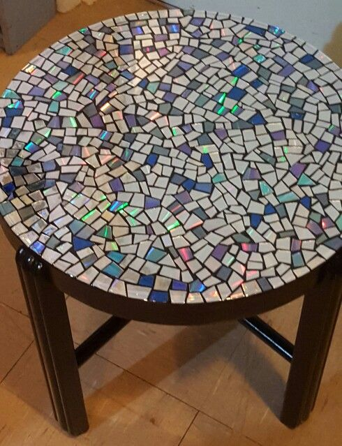 CD mosaic coffee table home Pinterest Mosaics Coffee and Cd