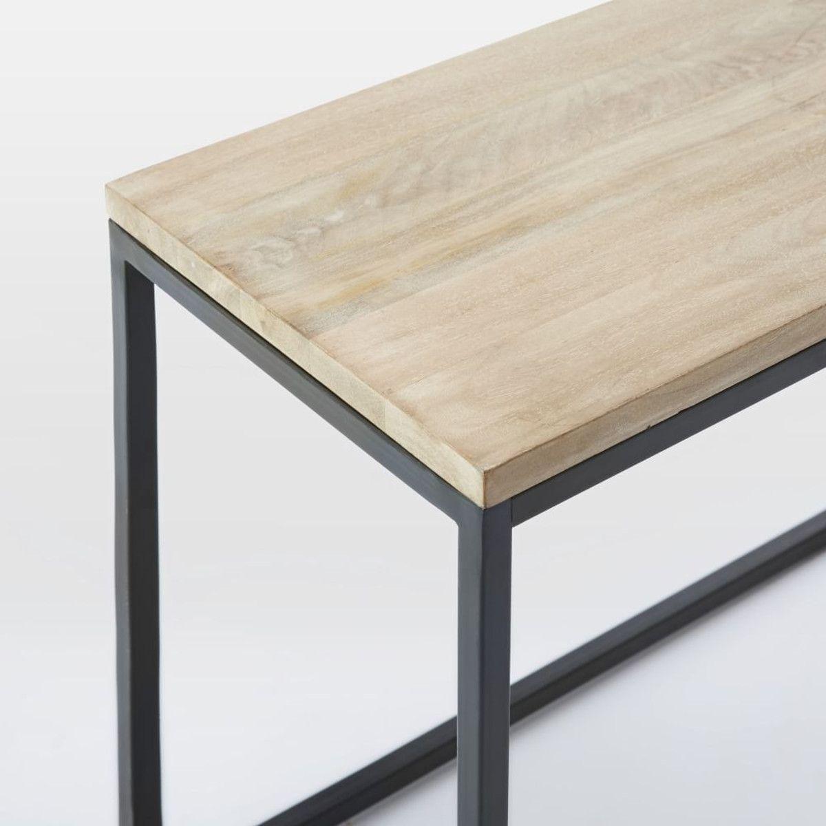 white washed mango wood. Box Frame Narrow Side Table - Whitewashed Mango White Washed Wood I