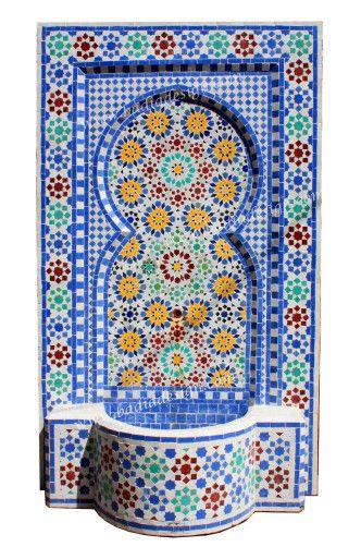 Moroccan Mosaic Tile Water Fountain Wall Fountain Moroccan Water Fountain Sale Moroccan Wall Fountain Mosaic Mosaic Wall Tiles Moroccan Tiles Islamic Tiles