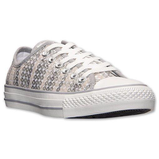 f9d6ef193da0 Women s Converse Chuck Taylor Ox Sequin Casual Shoes   Finish Line Size  7  - Color  Silver - Cost   49.98
