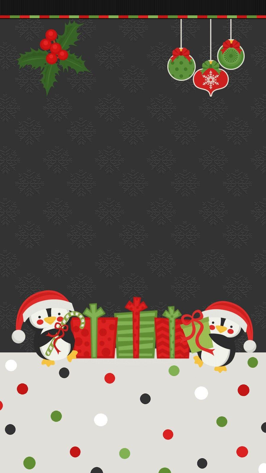 Penguins Christmas wallpaper Christmas phone wallpaper