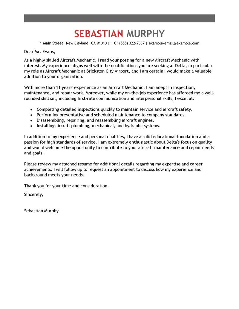Best Aircraft Mechanic Cover Letter Examples Livecareer Create
