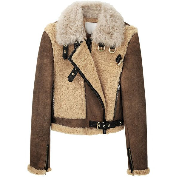 3.1 Phillip Lim / Vintage Shearling Aviator Jacket (1,980 CAD) ❤ liked on Polyvore featuring outerwear, jackets, coats, tops, women, shearling aviator jacket, funnel neck jacket, collar jacket, brown cropped jacket and aviator jacket