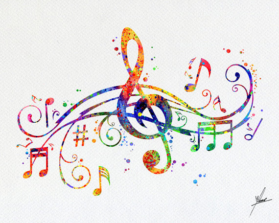 Musical Note Art Prin Watercolor Illustrations Print Wall Poster Giclee Decor Home Hanging Item 221