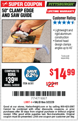 Pittsburgh 50 In Clamp Edge And Saw Guide For 14 99 Harbor Freight Tools Coupon Book Clamp