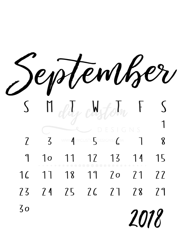 Blank Calendar September Portrait