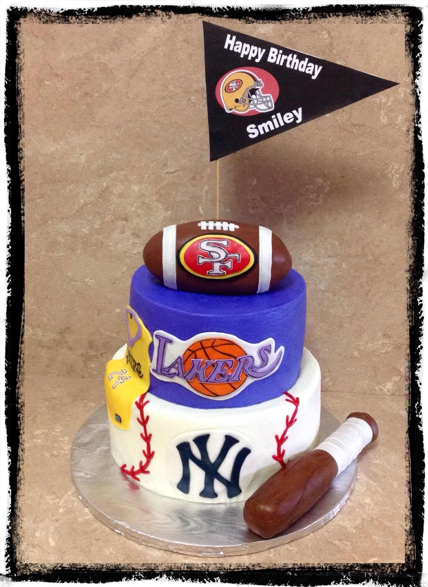 Sports Theme Birthday Cake....49ers, Lakers & Yankees