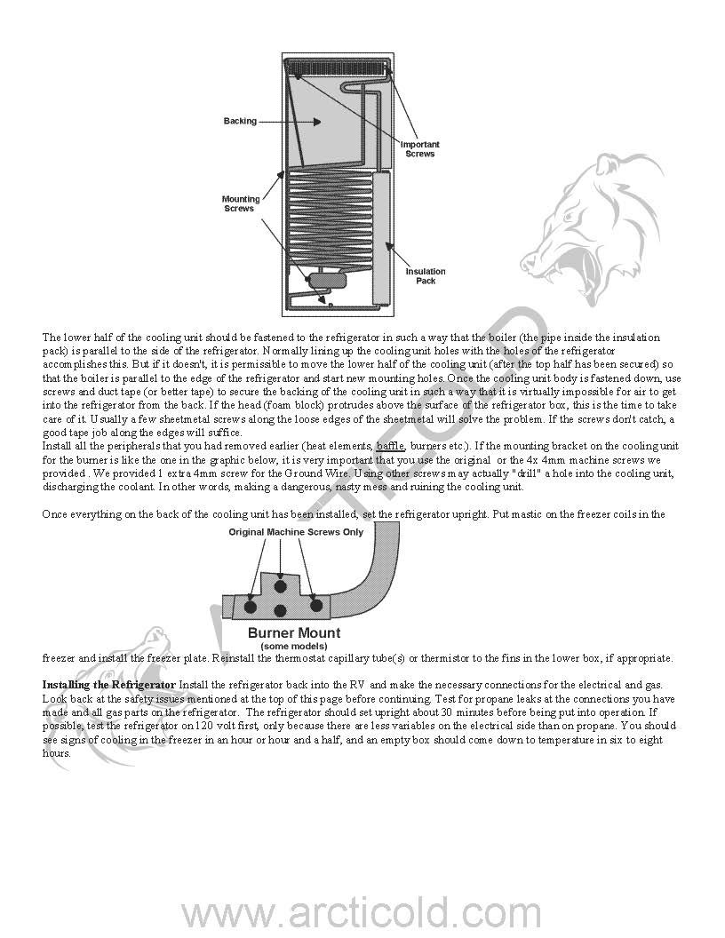 Page 6 Type 2 Install Instructions For Dometic Replacement Cooling Units With Freezer Tubes Contact Arcticold For Yo Cooling Unit The Unit Rv Refrigerator