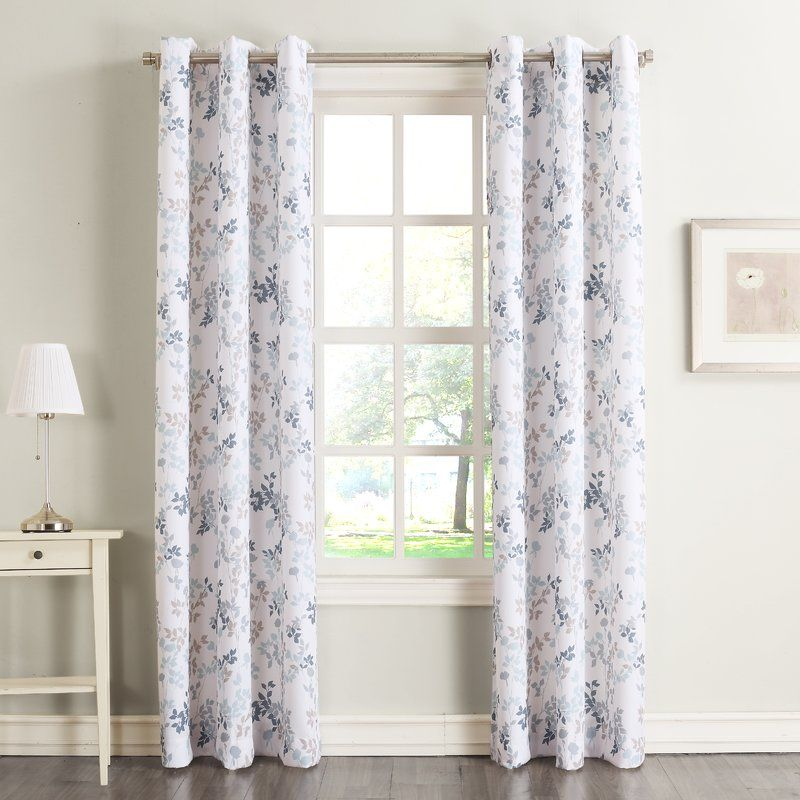 Alex Nature Floral Room Darkening Grommet Single Curtain Panel