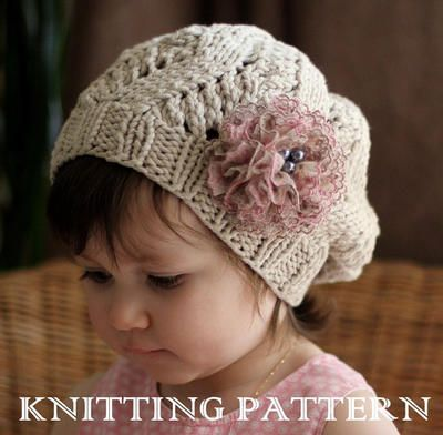 Amour Slouchy Hat Kniting Pattern Toddler Child Adult Sizes
