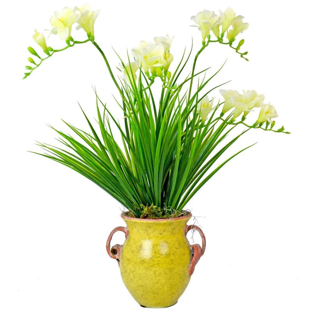 Creative Displays White Forsythia/ Green Grass in Aged Yellow Ceramic Pot (13W x 23H x 12L)