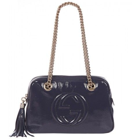 Gucci Blue Soho Soft Patent Leather Chain Shoulder Bag from www.profilefashion.com