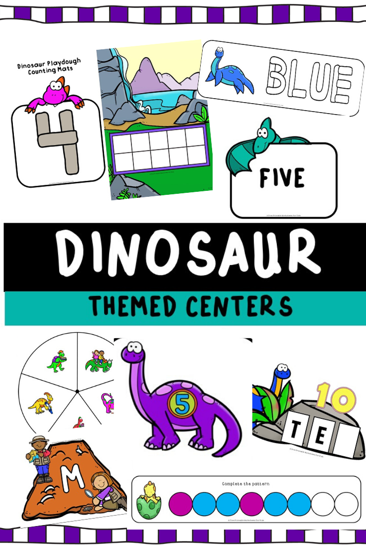 Dinosaur Themed Literacy And Math Centers Free Printable Worksheets For Kids Worksheets Printables Kindergarten Worksheets Free Printables Business For Kids [ 1102 x 735 Pixel ]