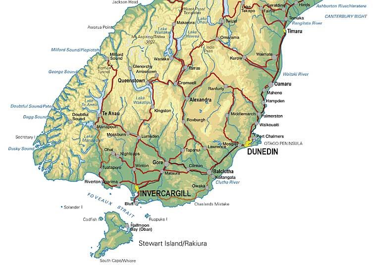 Detailed Map of NZ New Zealand Pinterest Topographic map