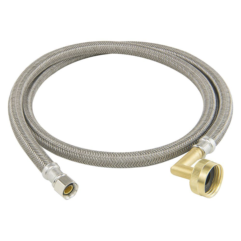 3 8 In Comp X 3 4 In Garden Hose Elbow Crimped Braided Polymer Connector Garden Hose Pvc Tube Polished Brass