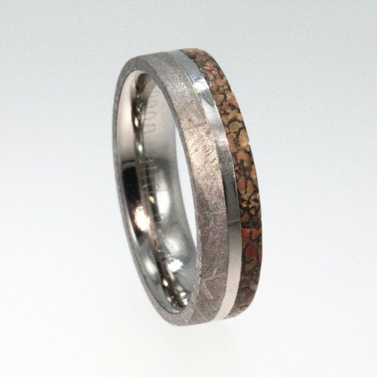 meteorite ring dinosaur bone wedding band engravable titanium ring - Dinosaur Bone Wedding Ring