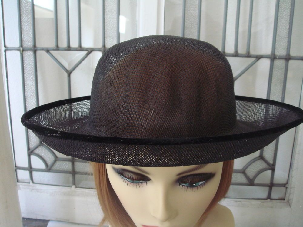 Vintage 1950s black buckram hat frame velvet covered wire edge ...