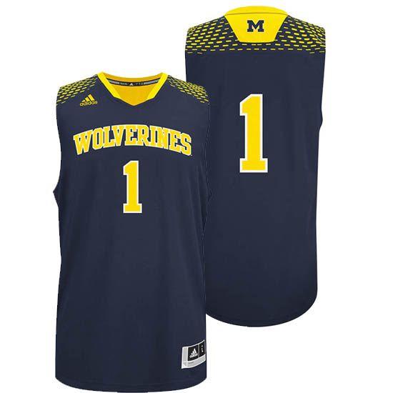 Adidas University Of Michigan Basketball Navy 1 Madeinmarch Jersey Sports Shirts Jersey Michigan Athletics