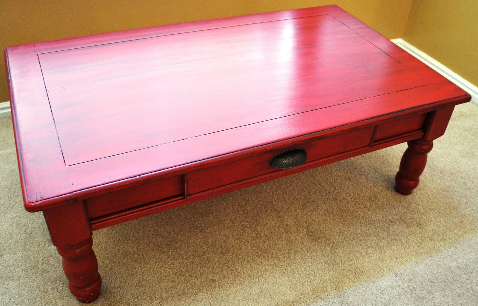 - Apple Red Coffee Table With Black Glaze On Top. (With Images