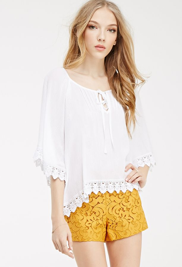 FOREVER 21 Crochet-Trimmed Peasant Top
