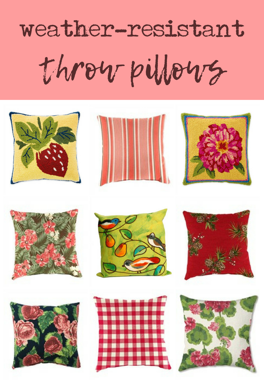 Mix And Match Throw Pillows Weather Resistant Fabric Indoor Outdoor Pillow Patio Furniture Accent Fl Fruit Birds Gingham